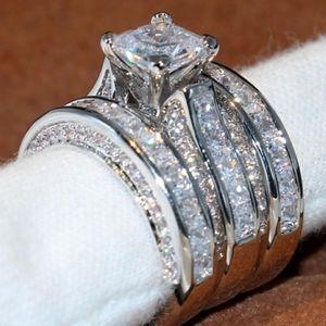 NEW 18K White Gold Diamond 3PC Engagement Ring Set
